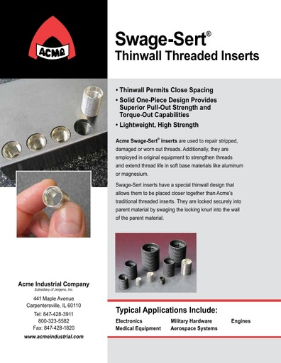 Thinwall Threaded Inserts
