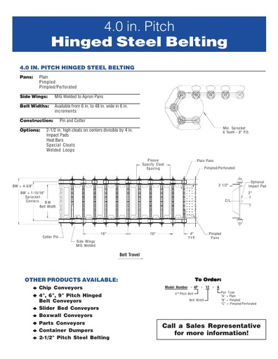 4 inch Pitch Hinged Steel Belting
