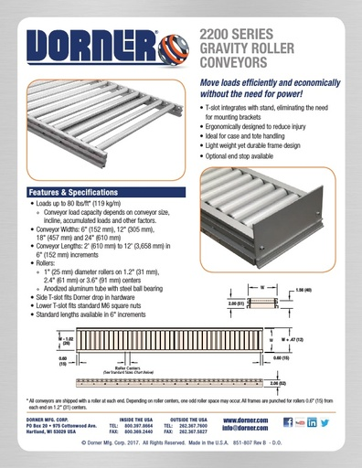 2200 Series Gravity Roller Conveyors