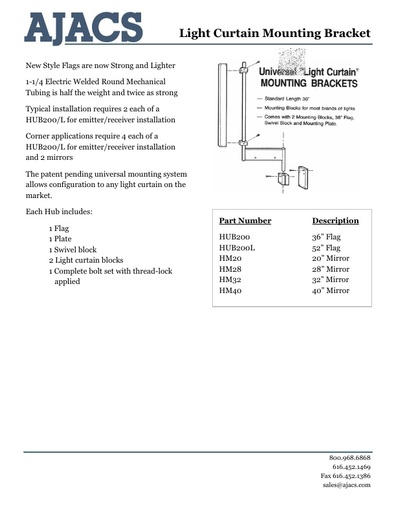 Light Curtain Mounting Brackets