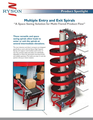 Multiple Entry and Exit Spiral Conveyors