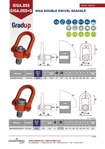 Giga Double Swivel Shackle