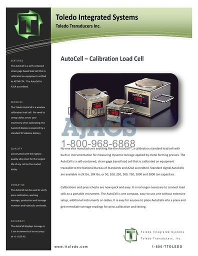 AutoCell - Calibration Load Cell