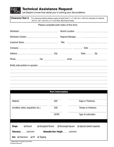 Technical Assistance Form