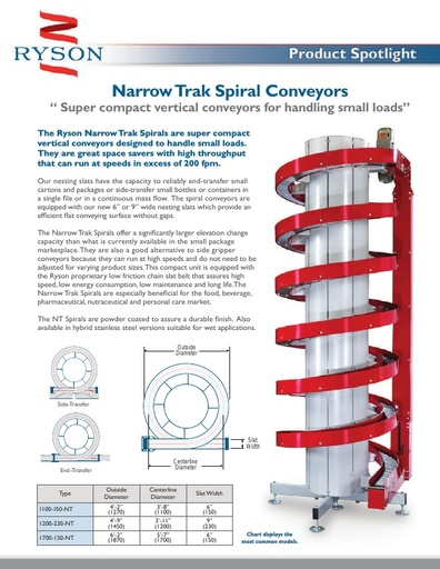 Narrow Trak Spiral Conveyors